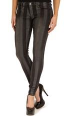 Black Stripe Print Stretch Skinny Jeans