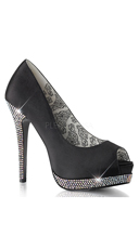 Peep Toe Pump with Rhinestone Lower Platform