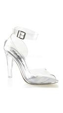 Clear Peep Toe Pump with Ankle Cuff