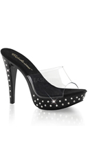 "5"" Rhinestone Accented Heel with Clear Slide"