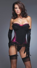 Black and Pink Satin Bustier