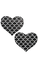 Black Glitter Heart And Silver Scales Pasties