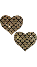 Gold Glitter Heart Pasties With Scales
