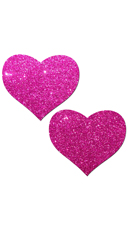 Hot Pink Glittering Heart Pasties
