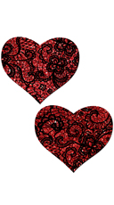Red Glitter Heart Pasties