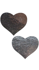 Liquid Silver Heart Pleather Pasties
