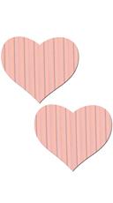 Pink Pinstripe Heart Pasties