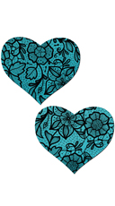 Blue and Black Satin Heart Pasties