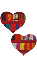 Tribal Multi-Color Heart Pasties