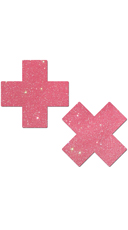 Bubblegum Pink Glitter Cross Pasties