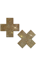 Gold Glittery Cross Pasties