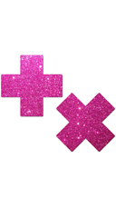 Hot Pink Glittery Cross Pasties