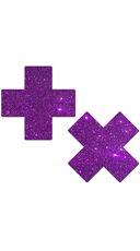 Purple Glittery Cross Pasties