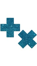 Turquoise Glittery Cross Pasties