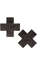 Liquid Black Pleather Cross Pasties