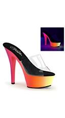 Clear 6 Inch Black Light Reactive Peep Toe Slide