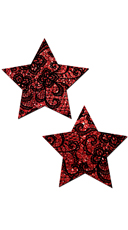 Red Glitter With Black Lace Star Pasties