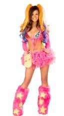 Hot Pink Tutu and Rainbow Bikini Set