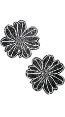Black and White Glitter Flower Pasties