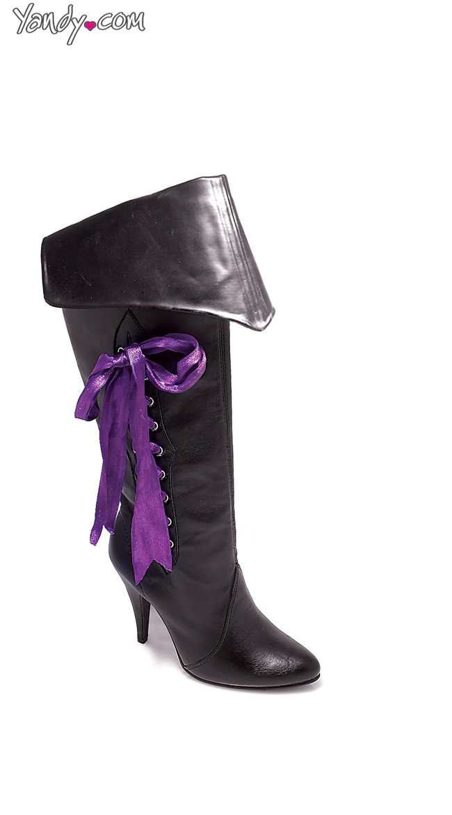 Women's Sassy Purple Ribbon Laced Lady Pirate Boots - DeluxeAdultCostumes.com