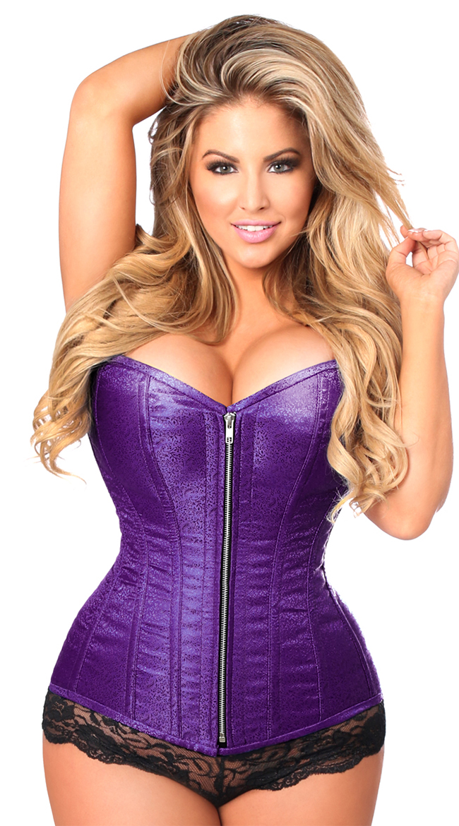 61d9a369480 Plus Size Purple Steel Boned Corset