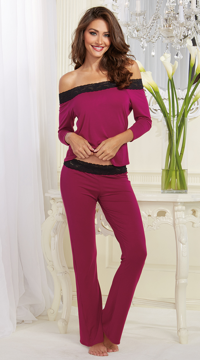 ee2d2e77120c X-Large Womens Raspberry And Lace Pajama Set