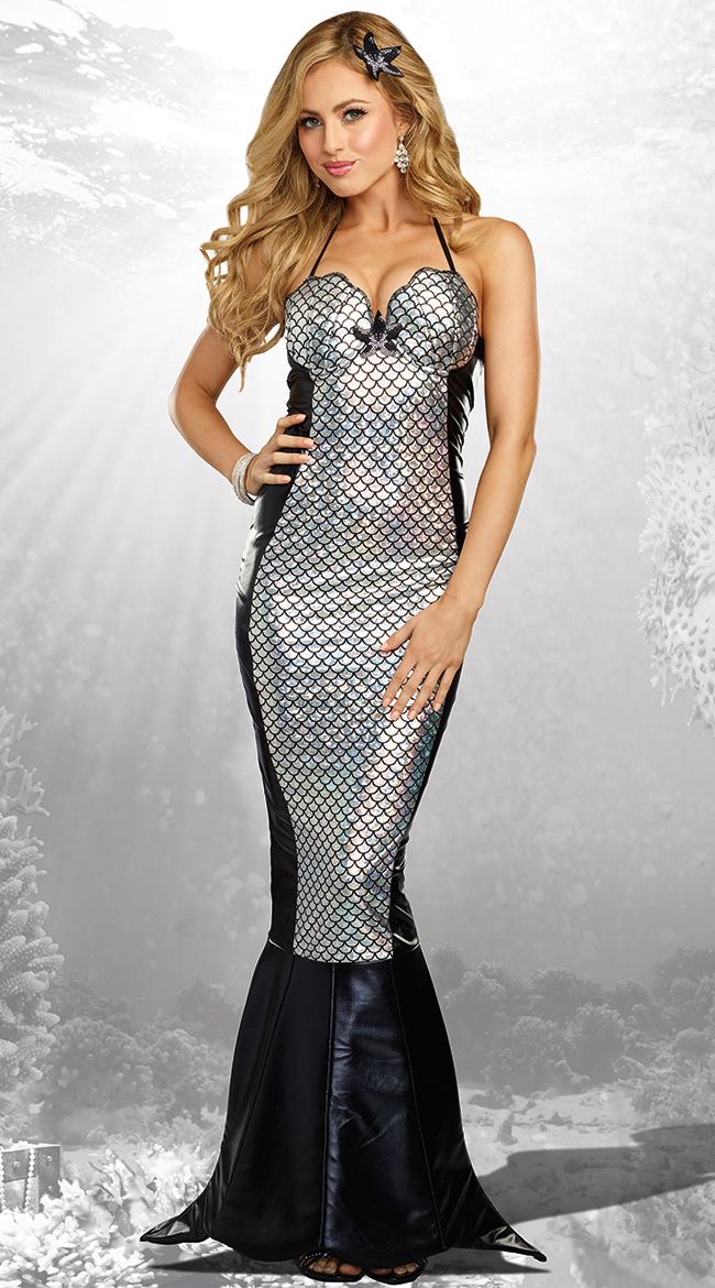 Dreamgirl Dark Sea Black and Silver Scaled Mermaid Costume - DeluxeAdultCostumes.com