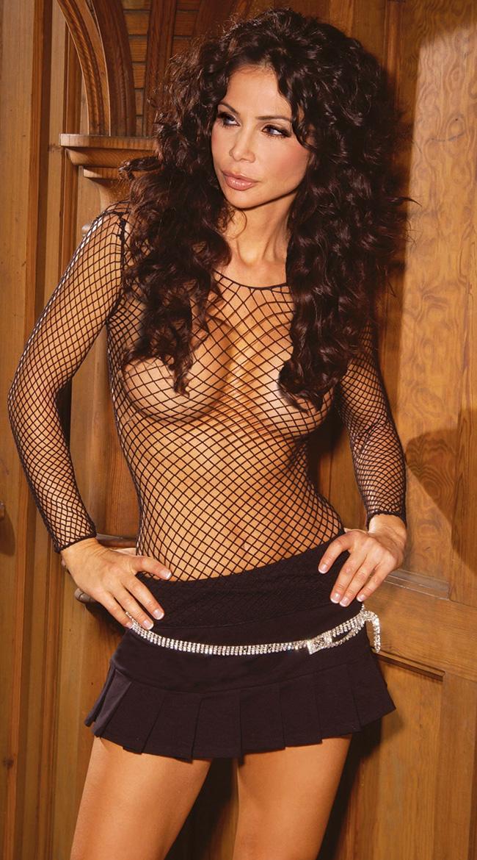 Black Fence Net Fishnet Top Dance Wear Plus Size 14-20