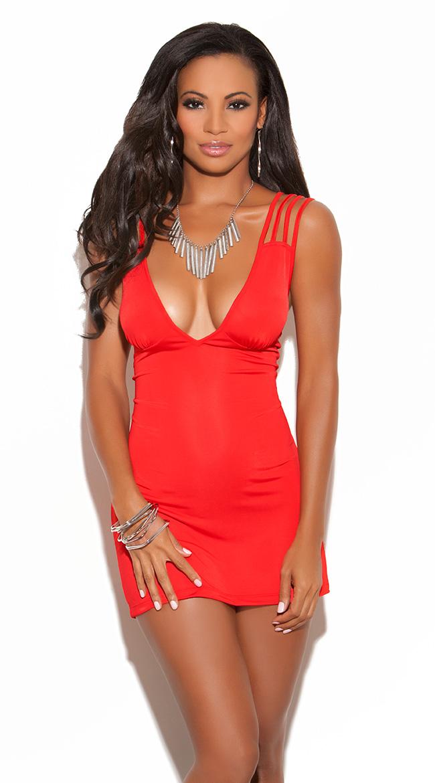 Triple Criss Cross Mini Dress, Bright Red Mini Dress, Sexy Mini Dress
