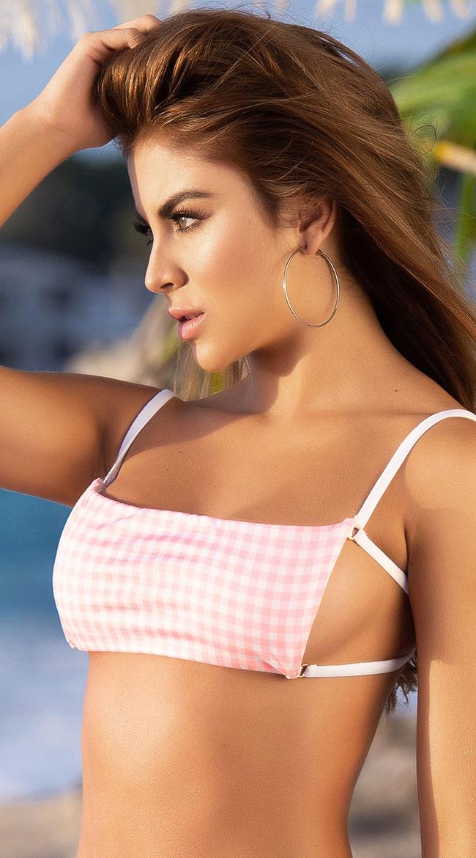 8b30b99015 Womens Yandy Pretty In Plaid Square Neck Bikini Top | eBay