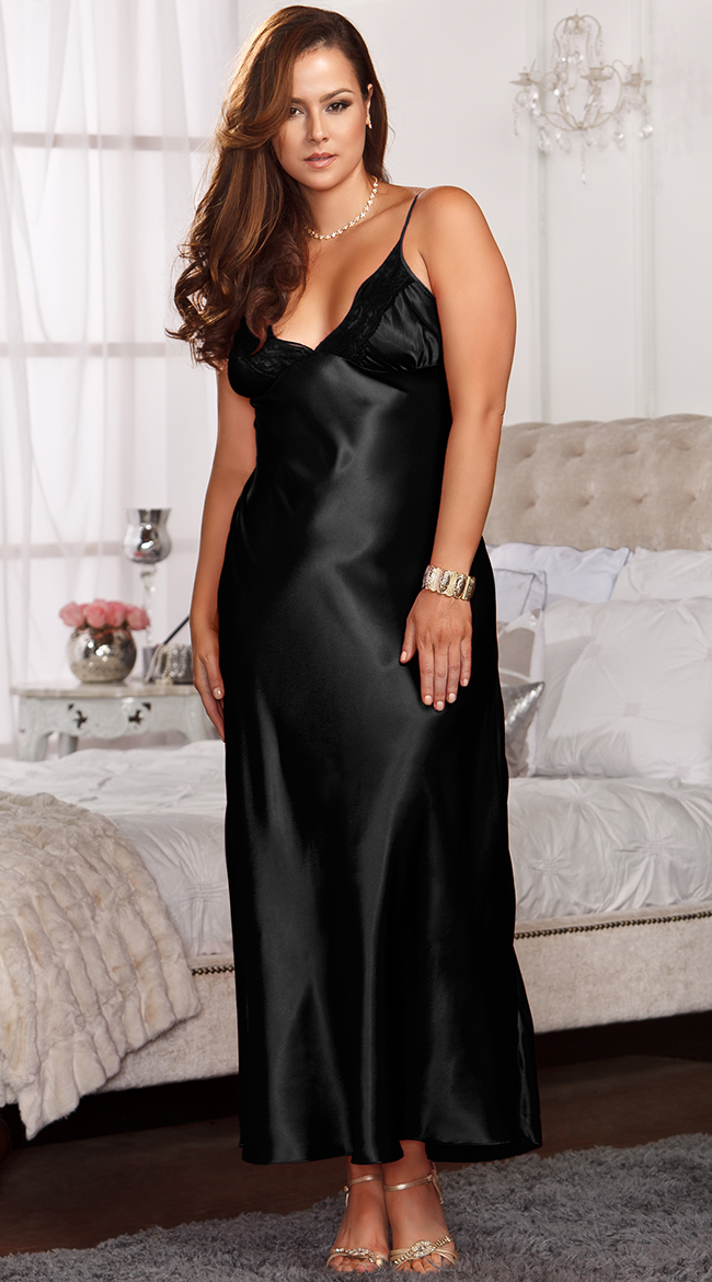 Womens Plus Size Lace Trimmed Floor Length Satin Gown, Plus Size ...