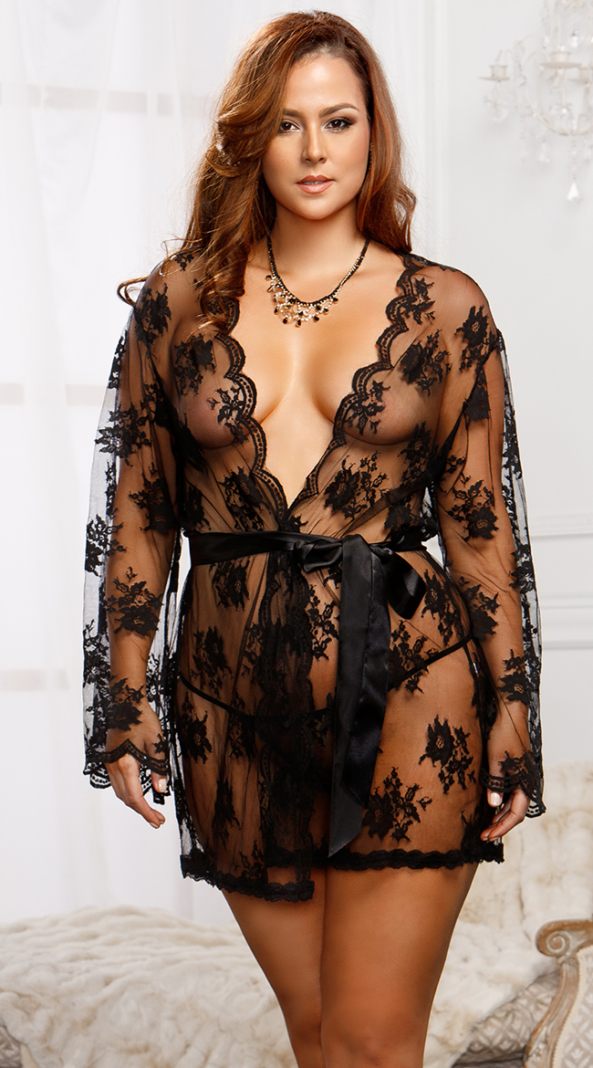 Plus Size Lace Robe with Butterfly Sleeves, Plus Size Robes For ...
