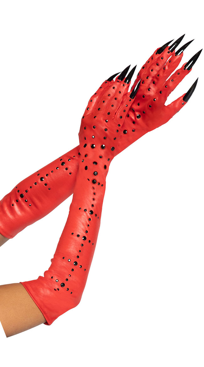 A949 Black Gloves Red Long Nails Demon Devil Witch Halloween Costume Accessory