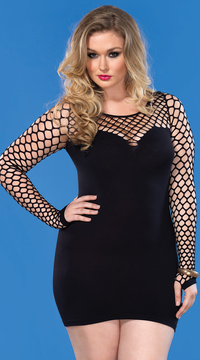 Plus Size Womens Plus Size Diamond Net Seamless Mini Dress Plus