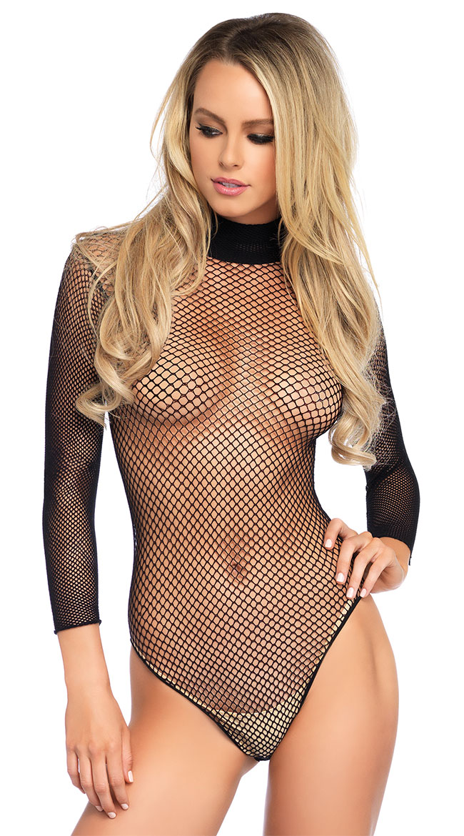 4d1cc064f86 One Size Fits Most Womens High Neck Fishnet Bodysuit