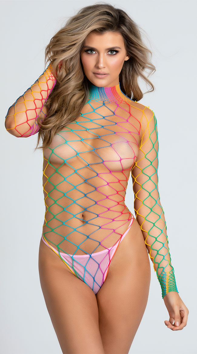 b4c25993d90 One Size Fits Most Womens Dream In Color Fence Net Bodysuit