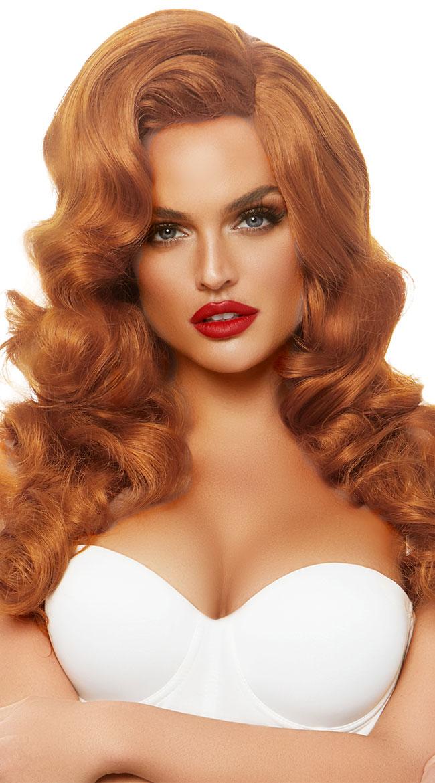 Adult Glamour Babe Short Ear Length Straight Hair w//Bang Neon Orange Costume Wig