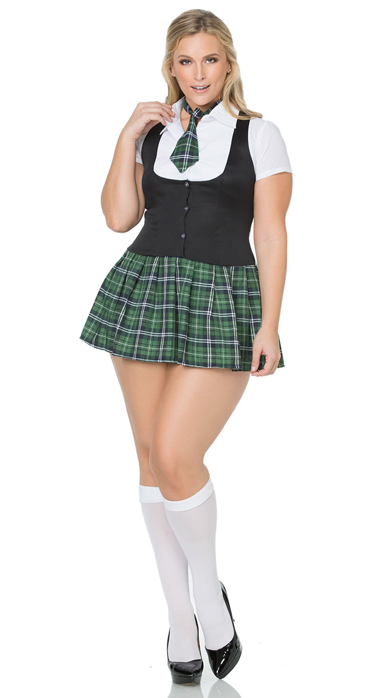 plus size darling private school girl costume, plus size