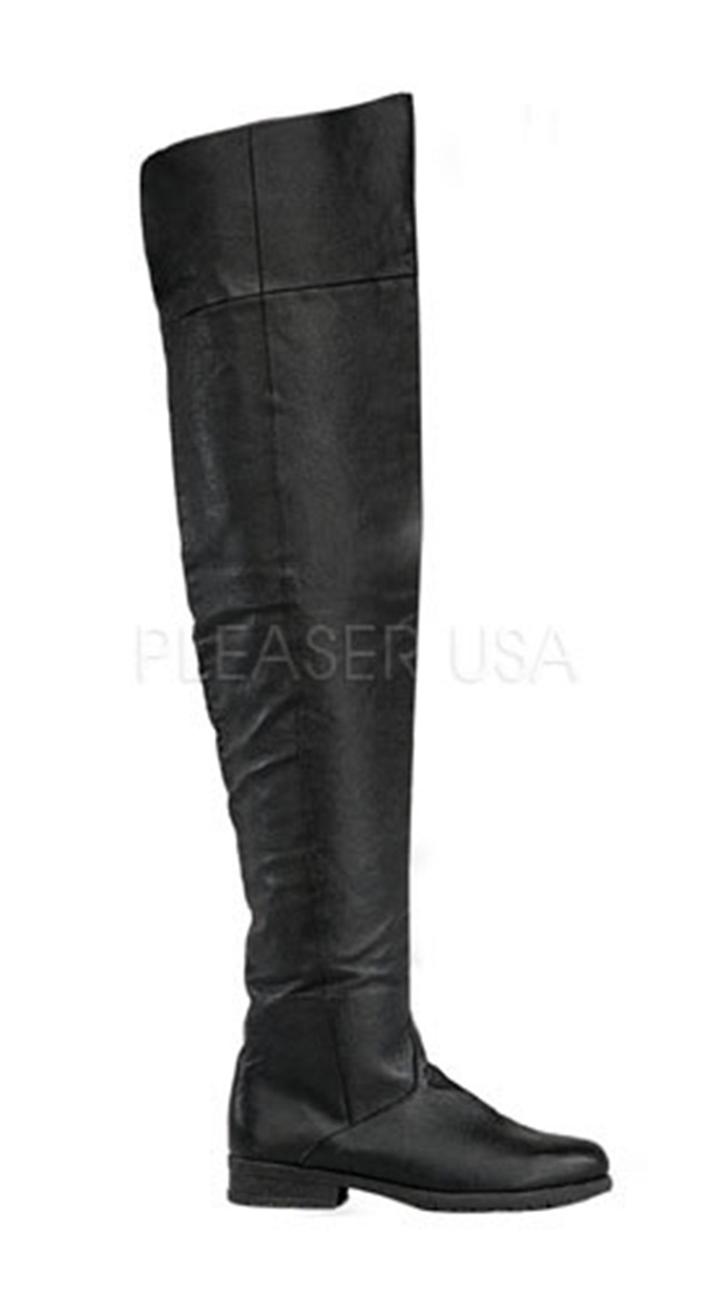 Men's Thigh High Black Boot, Black Thigh High Boot