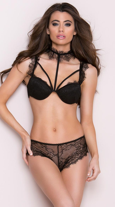 e7cd5ac3880 Womens High Waisted Harness Bra Set, Black Lace Bra Set   eBay