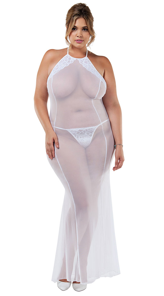 Details about Womens Plus Size Duchess Night Gown Set