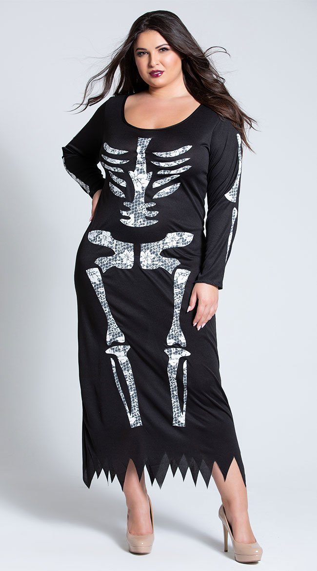 Details about X-Large Womens Plus Size Skeleton Midi Dress Costume