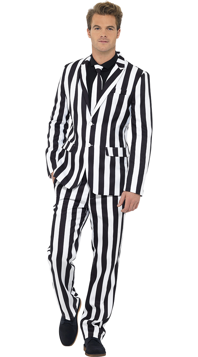Men's White and Black Striped Suit Costume, Mens Striped Costume Suit