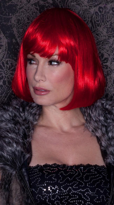 Fire Engine Red Bob Wig, Blush Cindy Firecracker Red Wig