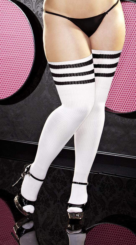 plus size womens plus size black striped thigh high socks