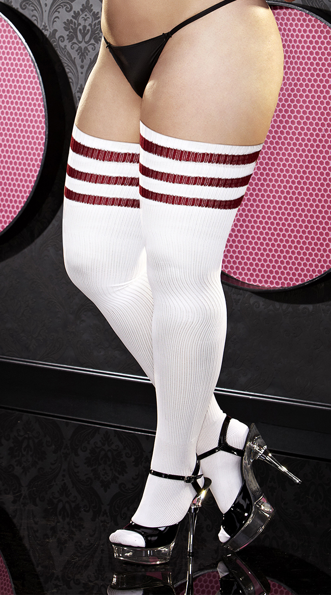 plus size womens plus size red striped thigh high socks