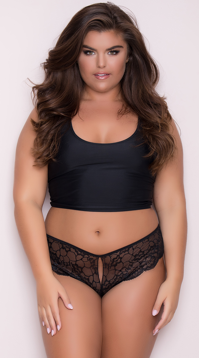 Womens Yandy Plus Size Lace Cheeky Panty With Keyhole Openings b786895e0