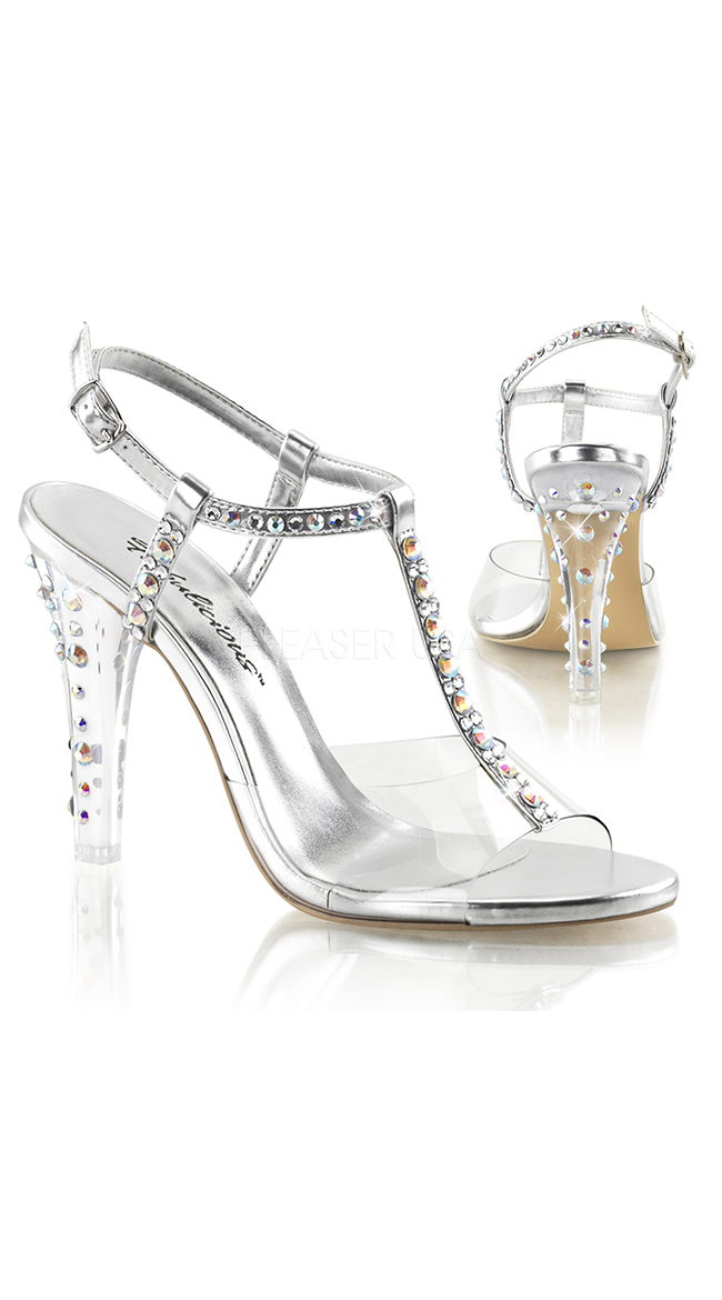 ca9506a5bd72 Clear T-Strap Heel with Rhinestone Accents