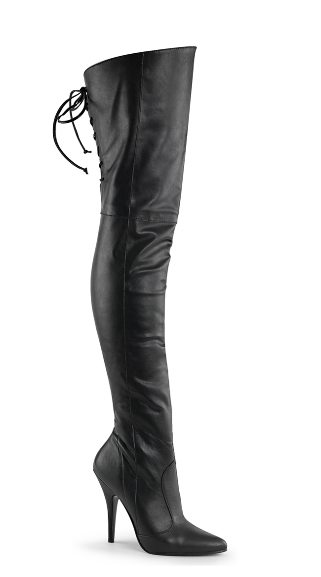 Lady Pirate Over the Knee Back Laced Black Leather Stiletto Heel Boots (Sizes 6 to 15) - DeluxeAdultCostumes.com