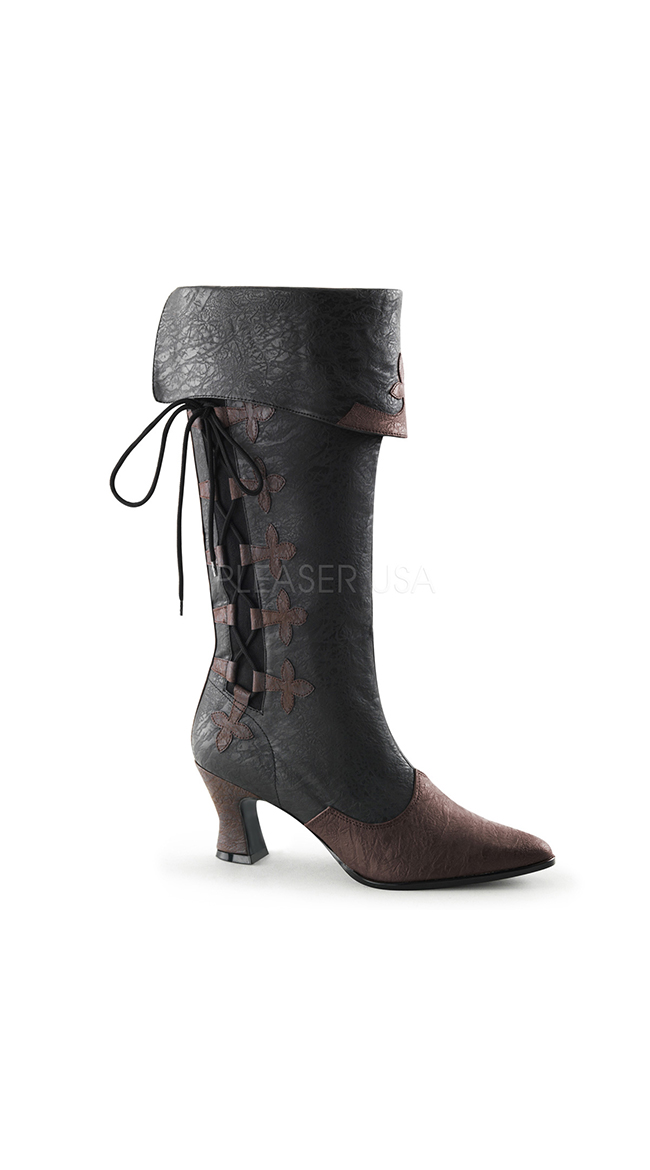 Women's Fold Over Black Faux Leather Pirate Boots with Brown Pointed Toes and Fleur De Lis Lace-Up Design - DeluxeAdultCostumes.com